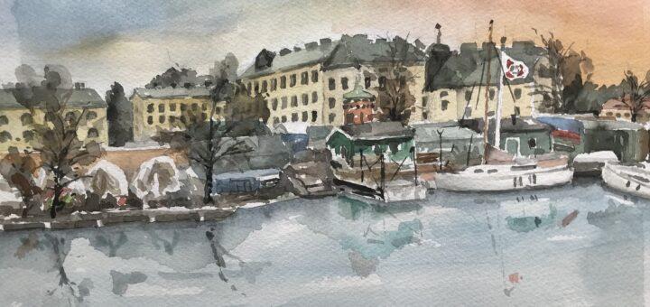 En akvarell av medlem Curt Fagersjö